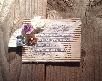 Quote magnet, small gift for friend, for coworker, for teacher, birthday gift, rustic mixed media, friendship quote, decorative magnet