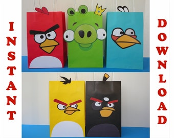 Angry Birds Party Favor Bags/ Birthday Party Favors/ DIY Goodie/ Goody/ Treat/ Loot/ Candy Bags/ Bag/ Printable Decoration/ Fiesta/ Supplies