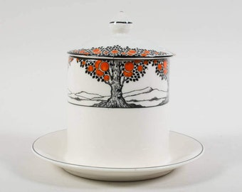 Crown Ducal Art Deco jam pot, Orange tree, 1930s