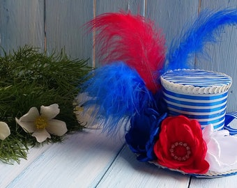4th of July Mini Top Hat Headband 4th of July Hat  Independence Hat 4th of July Fascinator Mad Hatter Hat Tea Party Hat Red Blue White Hat
