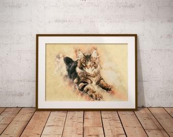 Maine Coon Cat Art Print on Canvas Custom Pet Portrait Customized Cat Painting Watercolor Maine Coon Cat Art Abstract Cat Print Abstract Art