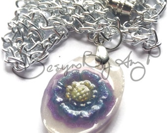 White, Blue & Purple Flower Necklace