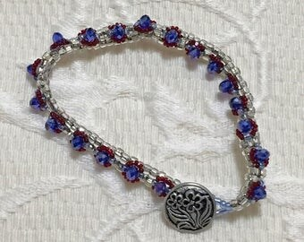Beaded Bracelet / Cobalt Crystals / Silver Bracelet / Women's Fashion / Jewelry / Gifts for Her / Beadweaving / Blue Bracelet / Button