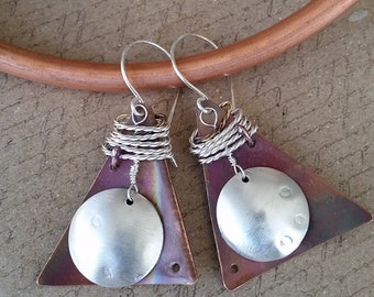 Unique Earrings/Sterling Silver/Copper/Copper Witch Designs/Hypoallergenic/Nickel-Free/Handmade/Made in USA/The Copper Witch/Jamie Belongia