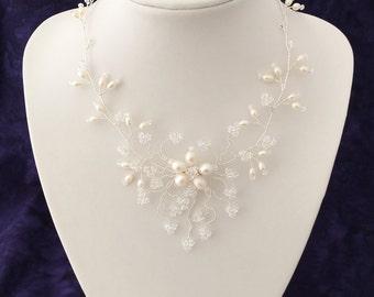 Freshwater Pearl and Swarovski Crystal Bridal Necklace, Wedding Necklace, Crystal & Pearl Necklace, Bridal Jewelry, Wedding Jewelry *FLEUR*
