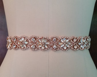 Wedding Belt, Bridal Sash Belt - ROSE GOLD Crystal Wedding Sash Belt