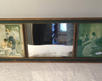Victorian Yard Long Triptych Prints and Mirror