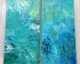 Earth and Ocean Abstract Acrylic Painting Set of 2