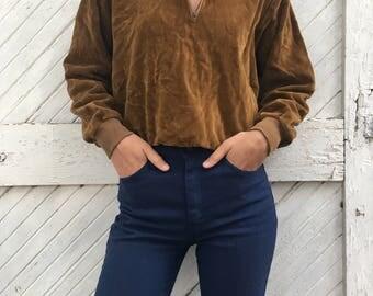 Vintage 1970's Brentwood Sportswear Velour Camel Brown Pull Over Long Sleeve Sweatshirt
