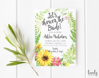 Sunflower Bridal Shower Invitation, Rustic invitations, Sunflower Invitation, Printed bridal shower invites, Printable, Unique