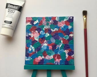 Original Art, Miniature Art, Mini Painting, Abstract Painting, Abstract Art, Teal & Pink Art, Original Painting