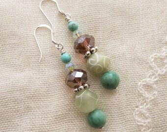 Jade, howlite, Swarovski crystal, and sterling silver dangle/drop gemstone earrings