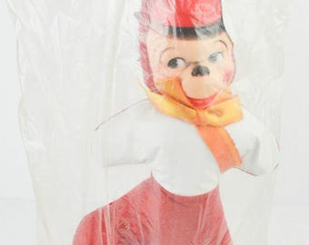 Vintage 1950s Celluloid Monkey Carnival Prize Stuffed Doll Midcentury Circus Fair