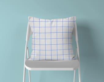 Grid Throw Pillow, Cobalt Grid Pillow, Geometric Pillow, Grid Pillow, Modern Throw Pillow, Minimalist Pillow, Minimalist Decor, Grid Cushion