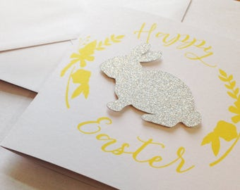 Happy Easter Silver Bunny Greetings Card