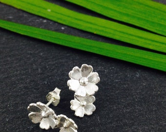 Little Flowers Earrings Silver 2 Flowers, stud earrings, Bridesmaids, bohemiann nature, silver, mother's day, gift for her, summer fashion