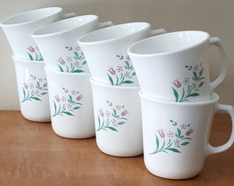 Vintage Corelle Rosemarie Cups~8 Corning Rosemarie Mugs~Microwaveble~Tulips on a White Cup~set of 8 mugs Made in USA