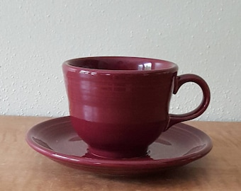 Vintage Fiestaware Fiesta Ware Vintage Cup and Saucer Set Homer Laughlin 1990s Claret Coffee Cup & Saucer