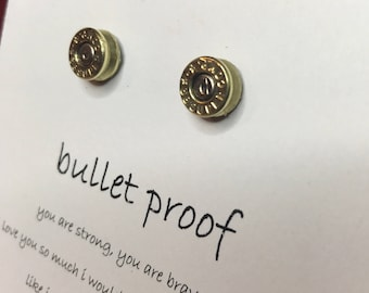 Bullet Earrings for Best Friend Jewelry Gift Valentines Gift for Her Necklace Gun Jewelry Ammo Jewelry Bullet Stud Earrings Friends Gift
