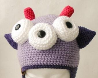 Kid hat, Baby hat, monster hat, hat for kid, hat for baby, kid monster hat, hat with eyes, crazy hat,  lilac hat, chrochet hat, monster
