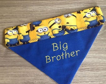 Fun Personalized Dog Bandana, Big Brother, in Blue with Contrast Minions Print, in Slide Thru Collar Design Sml or Med