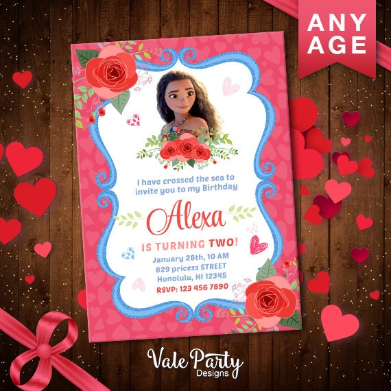 Disney Moana Printable Valentine Invitation