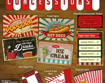 Concession Stand Printables Concessions Party Decorations Printable Kit banner signs popcorn box vintage movie theater snack bar instant