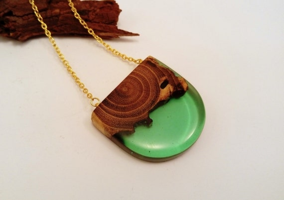 epoxy resin necklace wood and resin green necklace resin