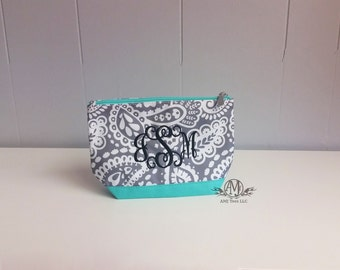 Monogram cosmetic bag, monogram make up bag, parker cosmetic bag, gifts for girls, gifts under 20, Christmas gifts