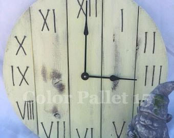 Yellow Clock, pallet Clock, Rustic Clock, Shabby Chic Clock, Wall clock, Round wall clock, Distressed clock, clock, wood clock, wall clock