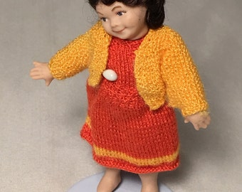 Francis, girl for dollhouse, knit clothing set