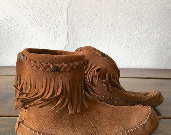 Native American Tan Suede Moccasin