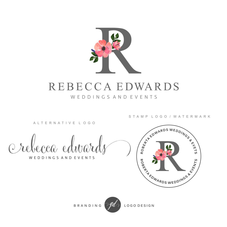 Wedding Branding Ideas: Wedding Planner Logo Design Premade Branding Kit Flower Logo