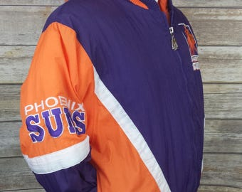 Phoenix Suns Mighty Mac Jump Ball Club Vintage Hooded Zip Up Jacket Size Youth M | 1980s 80s 1990s 90s | Boys Old School NBA Coat