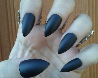 Matte Black Stiletto Nails, Gothic Goth Black Press/Glue on Nails, Acrylic False Fake, Witch Halloween, Coffin, Square, Oval, Long or Short