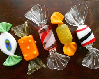 Five Vintage Murano Glass Sweets, variety of shapes