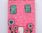"RESERVED for Karen B /fun-original ooak hand painted whimsical folk art wood house-approx. 4"" x 9"" x 3/4"" deep, ready to hang"