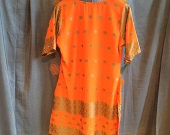 Eastern Sunset, Vintage Indian tunic dress+scarf (size 8-10)