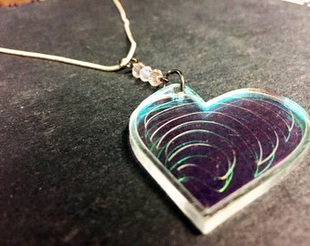 Heart Scale Necklace (Iridescent Acrylic, laser-cut)
