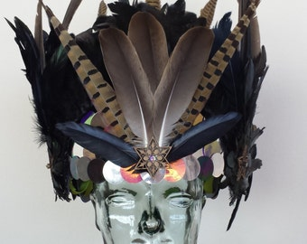 Warrior Feather Headpiece, Shaman Headdress, Bike skate Helmet, Festival clothing, festival headpiece,