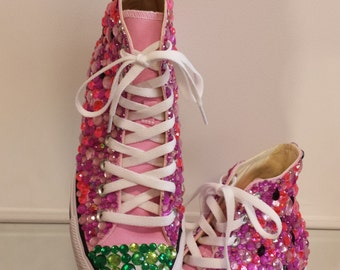 Watermelon Rhinestone Hightop Converse All Star Chuck Taylors, Party Shoes, Custom Shoes, Custom Hightops, Party shoes