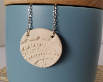 Polymer clay pendant necklace, stamped polymer clay pendant, on chain
