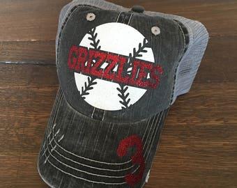 Baseball Mom Trucker Hat, Baseball Mom Hat, Custom Baseball Hat, Distressed Baseball Hat, Distressed Sports Mom Hat, Baseball Mom