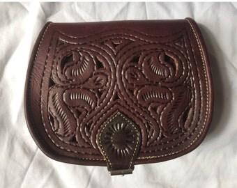 Bag satchel satchel shoulder 100% leather patterned color dark brown (other colours) - Vintage style leather handbag.