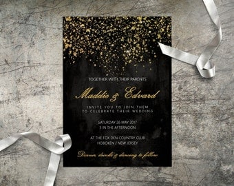 wedding invitation set black and gold glitter printable digital wedding invite faux gold foil tinsel glittery - Digital Wedding Invitations
