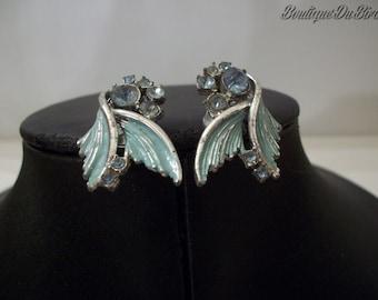 Vintage Blue Jem Clip-On Earrings