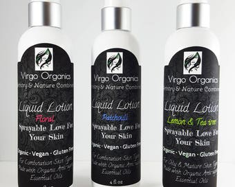 ORGANIC ~ Liquid Lotion Spray / Nourishing + Anti-aging / 12+ Essential Oil Combo / Gluten Free & Vegan / Skin Loving!