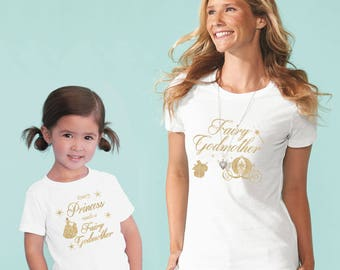 fairy godmother shirt goddaughter matching shirts, every princess needs a fairy godmother, godmother gift, godparent gift (gold glitter)