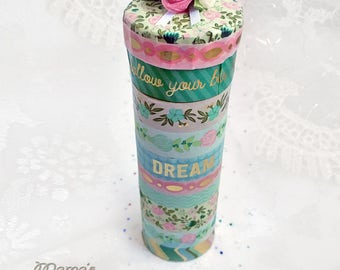 """Vintage Looking 'Follow Your Bliss' Paper Mache Trinket Box, 3.5""""w x 2""""h, Blue, Pink, Tall, Roses, Round, Birthday, Gift, Cute, Round"""