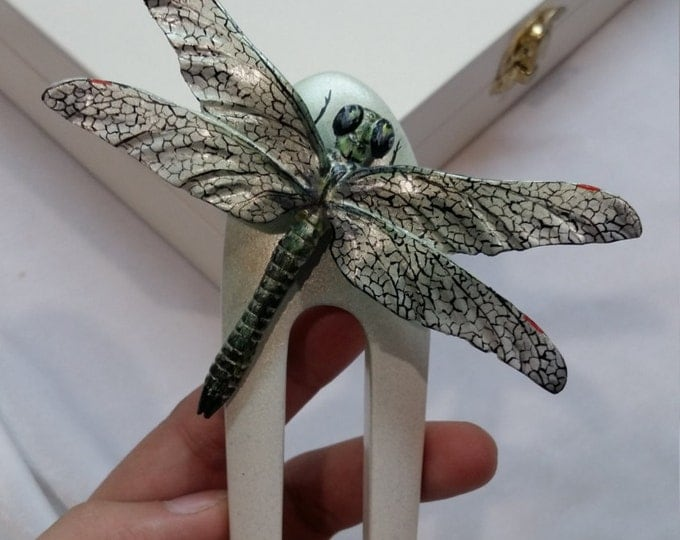 Hair accessories. Hair fork. Wooden hair fork. Hair fork 2 prong. Wooden long hair fork. Big dragonfly.